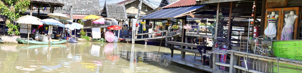 Панорама плавучего рынка Паттайи Тайланд