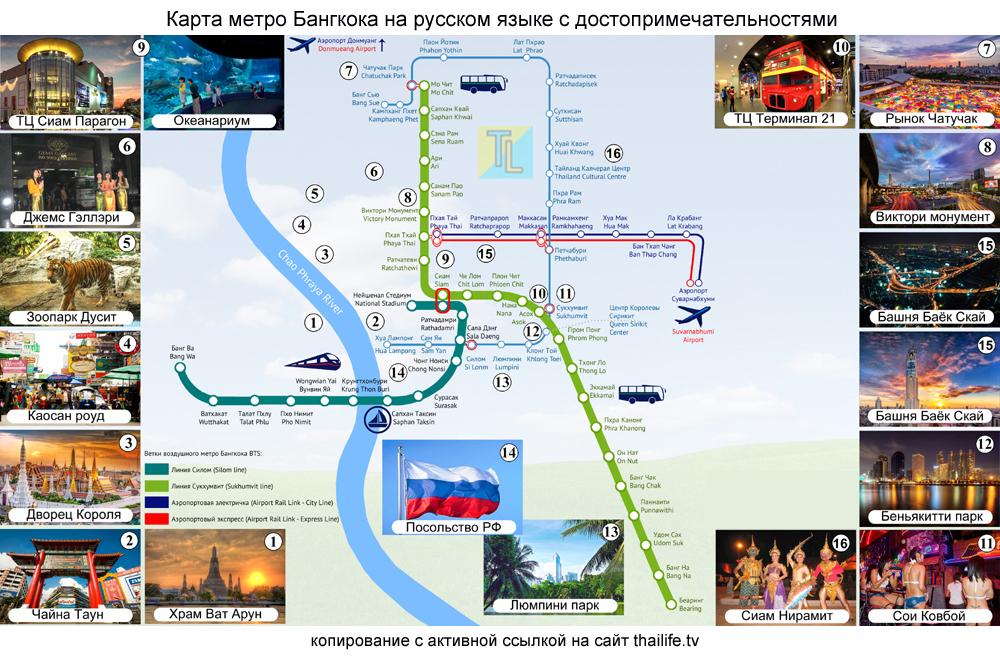 Карта метро Бангкока БТС на русском языке с достопримечательностями