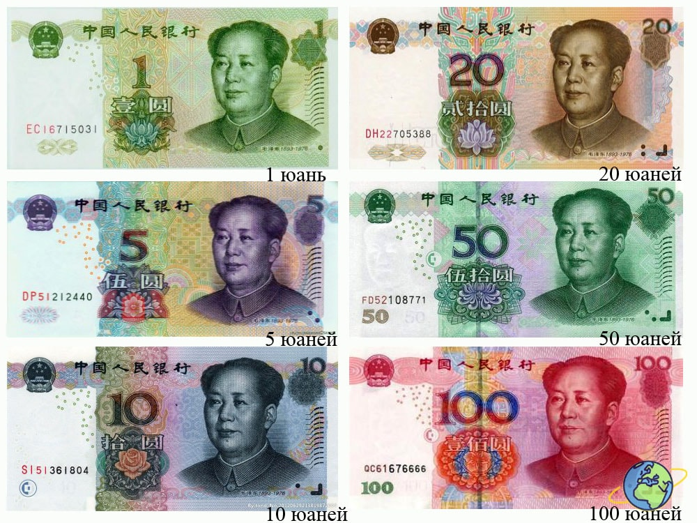 бумажные денежные купюры Китая
